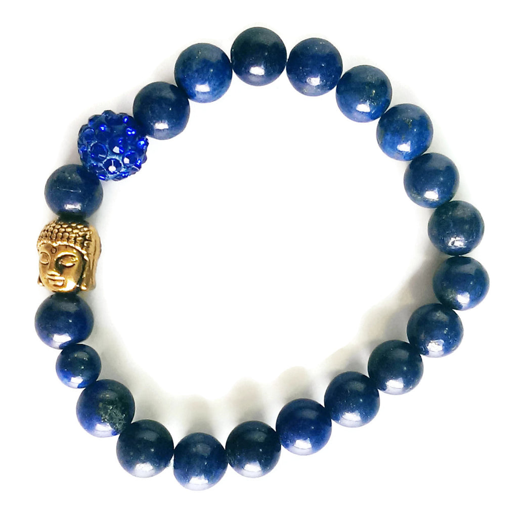8mm Lapis Lazuli, Gold Buddha Head, Blue Shamballa Wrist Mala / Stretch Bracelet | Meditation | Crown Chakra
