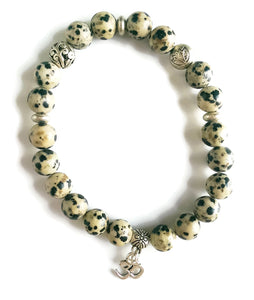8mm Dalmatian Jasper Stone Bead Stretch Stackable Meditation Yoga Wrist Mala Focus Energy Bracelet Lotus Charm OM Pendant Root Chakra