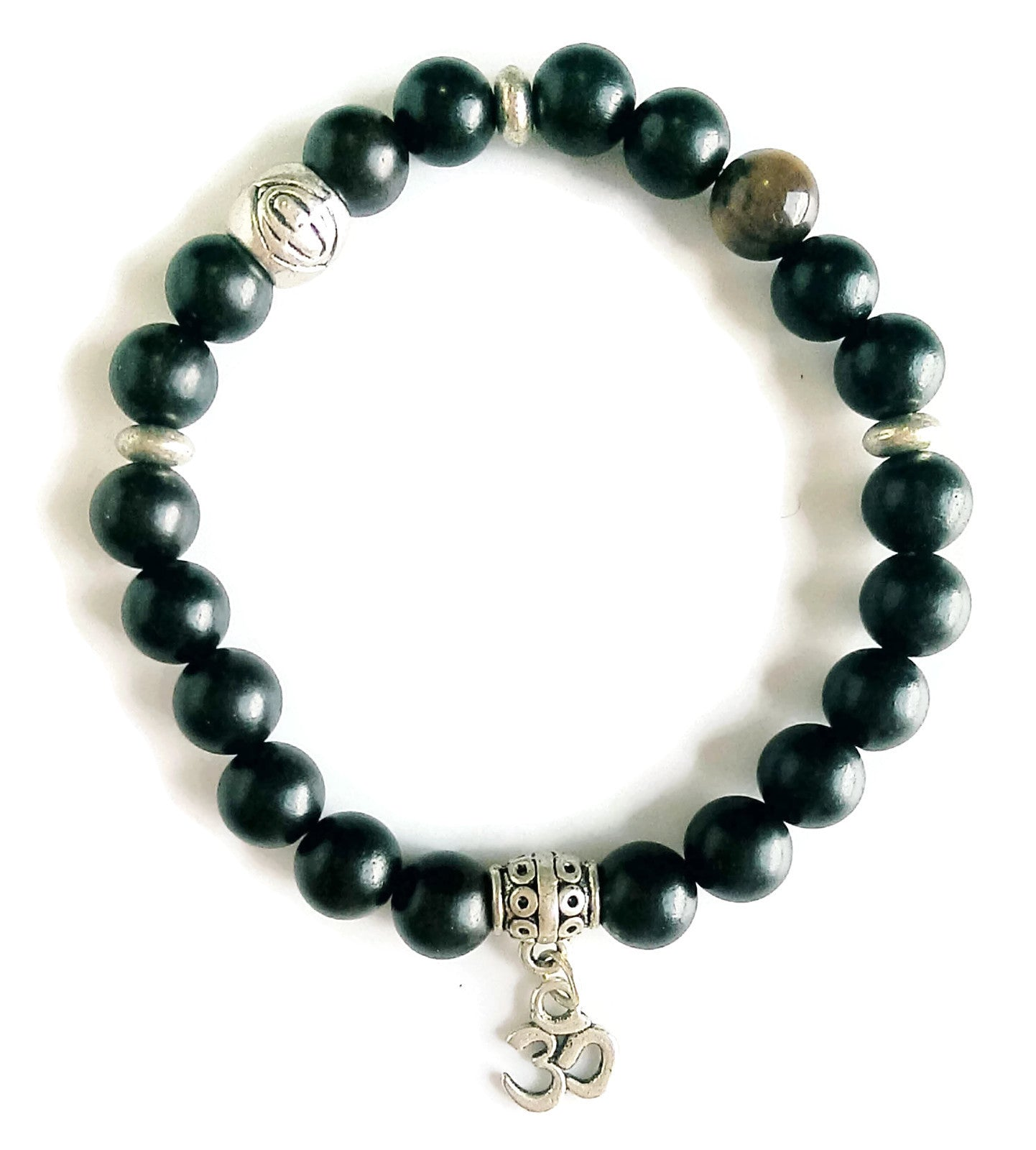 8mm Black Ice Obsidian Stone Bead Stretch Stackable Yoga Meditation Wrist Mala Focus Energy Bracelet Silver Lotus OM Charm Root Base Chakra