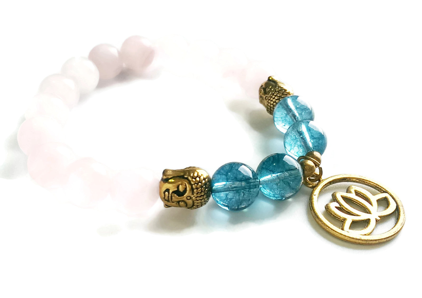 10mm Rose Quartz & Blue Phantom Crystal Stone Wrist Mala Gold Buddha Head Gold Lotus Charm Stretch Bracelet Meditation | Heart Chakra