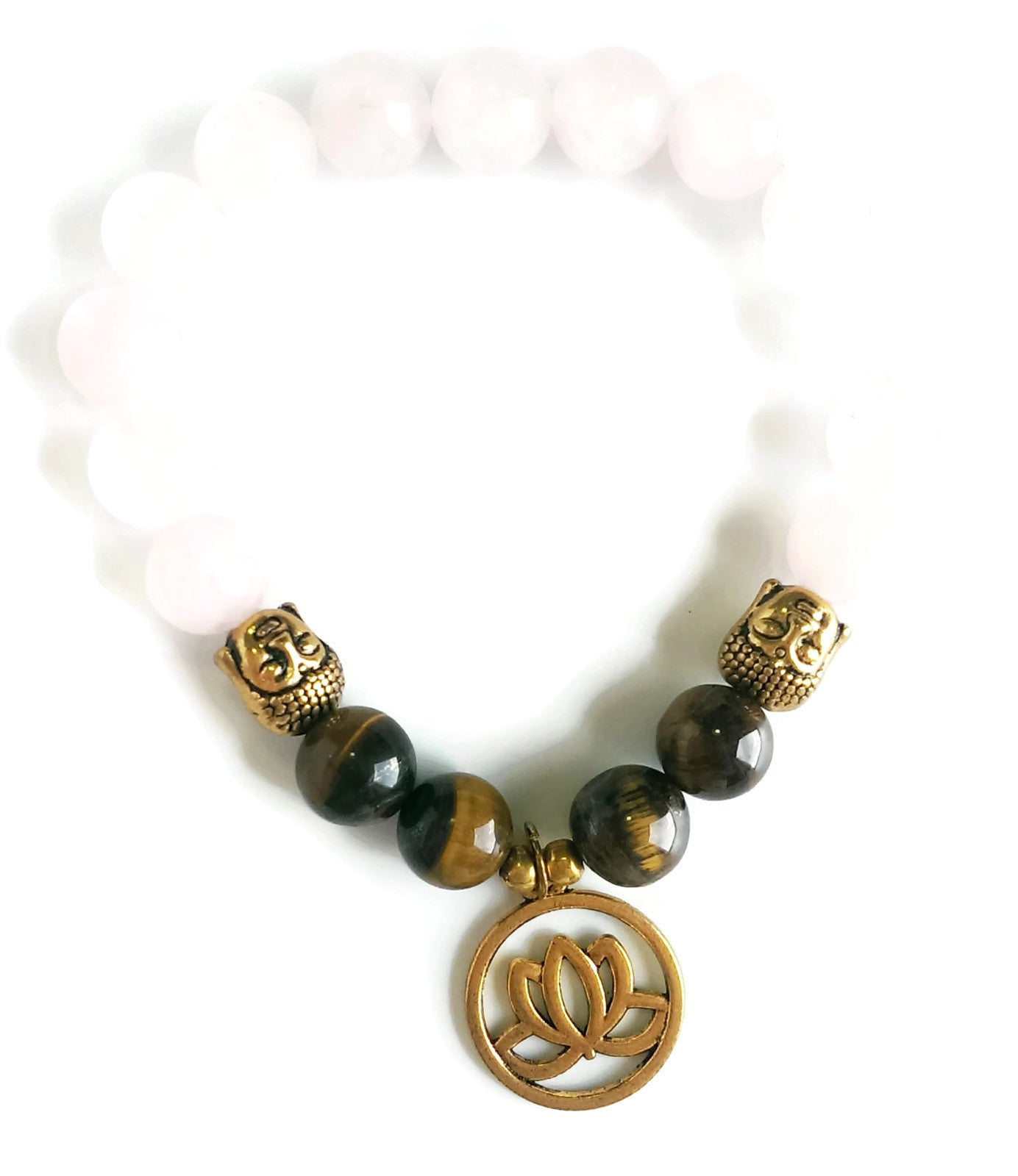 10mm Rose Quartz & Tiger Eye Stone Wrist Mala with Gold Buddha Head and Gold Lotus Charm, Stretch Bracelet | Meditation | Heart Chakra Focus