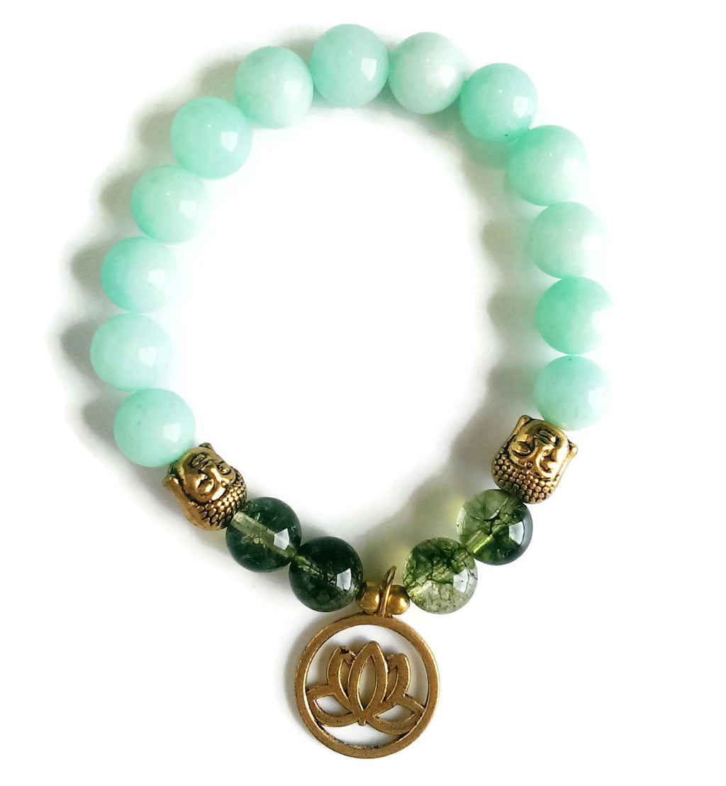 10mm Amazontie & Green Phantom Crystal Stone Wrist Mala and Gold Buddha Head Gold Lotus Charm, Stretch Bracelet | Meditation | Throat Chakra