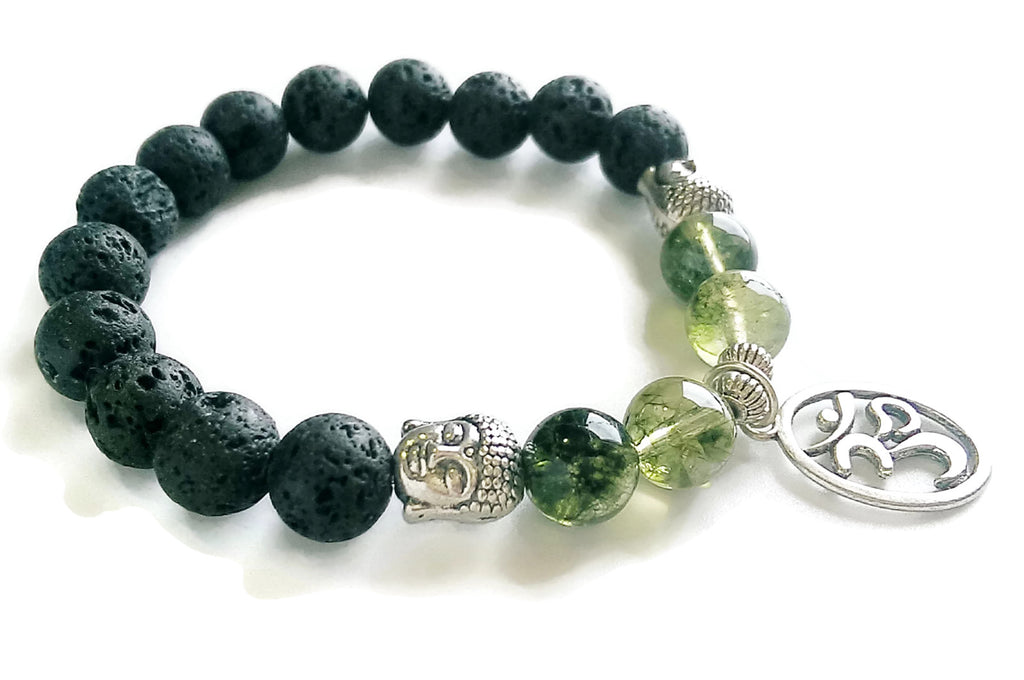 10mm Lava & Green Phantom Crystal Stone Wrist Mala Silver Buddha Head and Silver OM Charm, Stretch Bracelet | Meditation | Root Base Chakra