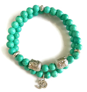 6mm Turquoise Stone Bead Stackable Stretch Wrist Mala Focus Energy Bracelet Set Throat Heart Chakra Silver Buddha Head OM Pendant