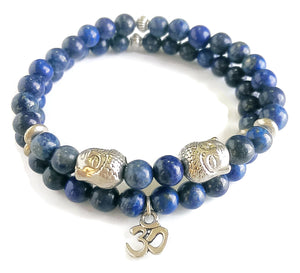 8mm Brazilian Lapis Lazuli Silver Buddha OM Charm Yoga Wrist Mala Set Stretch Bracelet Minimal Meditation Yoga Stackable Third Eye Chakra