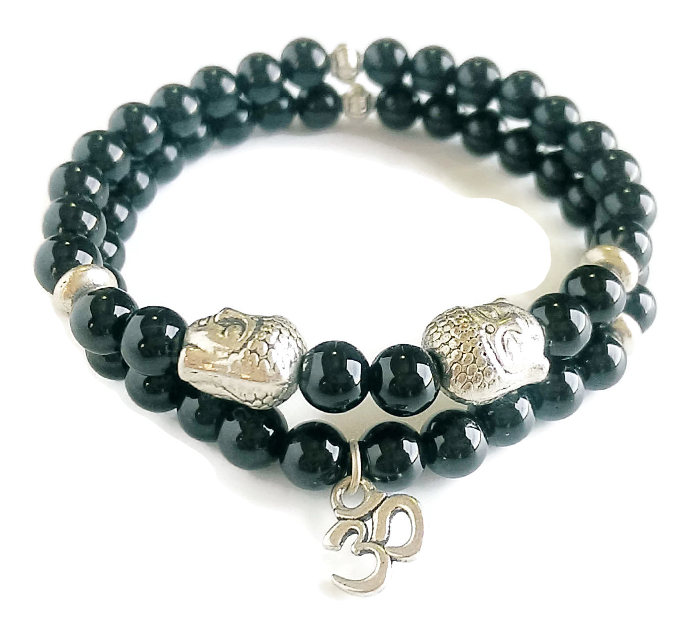 6mm Sandstone Bead Meditation Yoga Stretch Stackable Wrist Mala Focus Energy Bracelet Set Third Eye Chakra Silver Buddha OM Charm