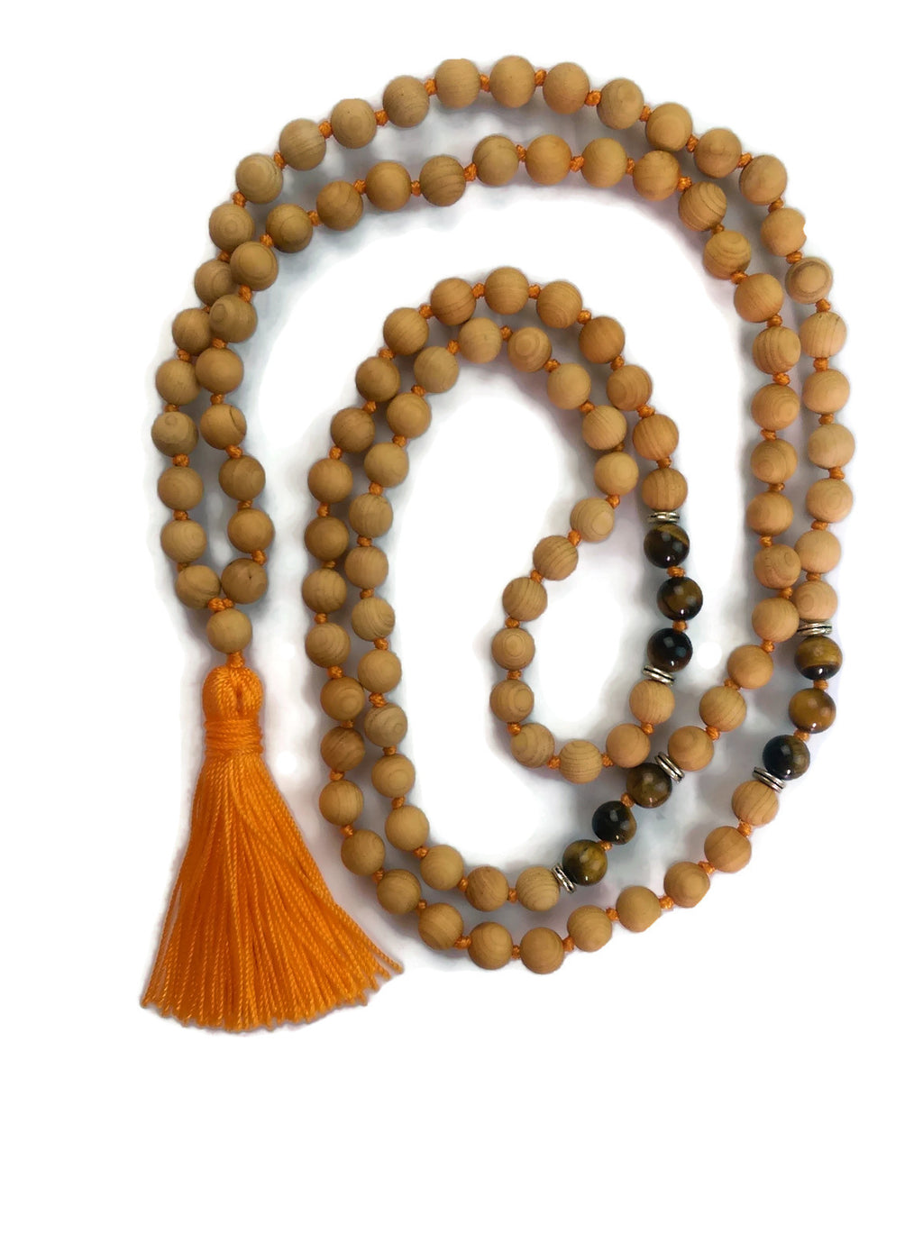 Sunset Collection 8mm Cypress Wood Bead and Tiger Eye Traditional Knotted 108 Meditation Mala Necklace | Solar Plexus Chakra