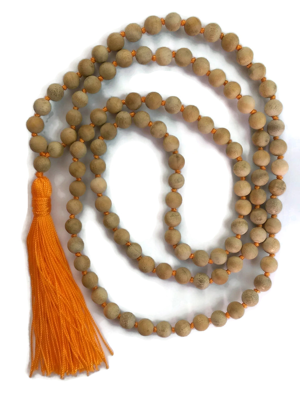 Sunset Collection 8mm Matte Golden Sandalwood Bead Traditional Knotted 108 Meditation Mala Necklace