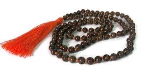 Sunset Collection 8mm Jasper Stone Traditional Knotted 108 Meditation Mala Necklace | Root Chakra