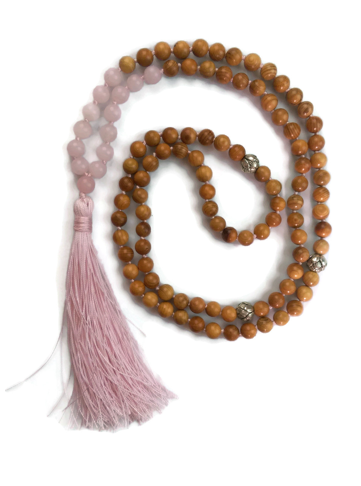 Earth Chakra Collection 8mm Rose Quartz and Yew Wood Traditional Knotted 108 Meditation Mala Necklace | Heart Chakra