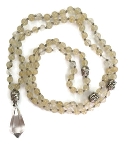 Crystal Collection Mountain Crystal Traditional Knotted 108 Meditation Mala Necklace with Silver Pendant