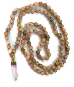 Crystal Collection 6mm or 8mm Sunstone Traditional Knotted 108 Meditation Mala Necklace with Gold Crystal Pendant