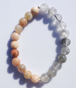 Balance Collection Rutilated Quartz Crystal & Faceted Sunstone Yoga Meditation Wrist Mala Bracelet Sacral Chakra Focus Healing Energy Reiki