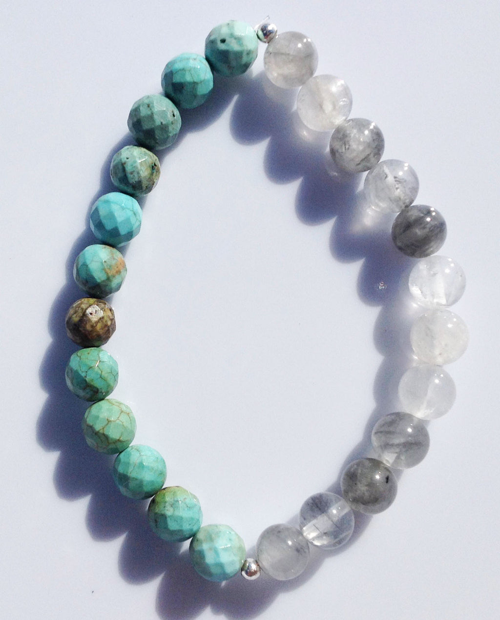 Balance Collection Rutilated Quartz Crystal & Faceted Turquoise Yoga Meditation Wrist Mala Bracelet Throat Chakra Focus Healing Energy Reiki