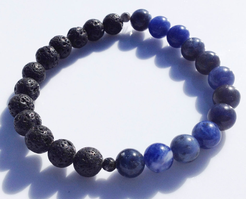Balance Collection Black Lava Stone, Pyrite & Sodalite Yoga Meditation Wrist Mala Bracelet Third Eye Chakra Focus Healing Energy Reiki