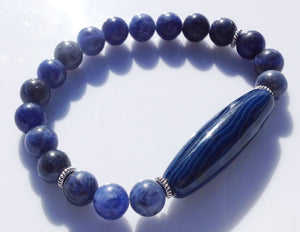 Ancient Dark Blue Dzi Bead Collection Sodalite Stone Yoga Meditation Wrist Mala Bracelet Third Eye Chakra Focus Healing Energy Reiki