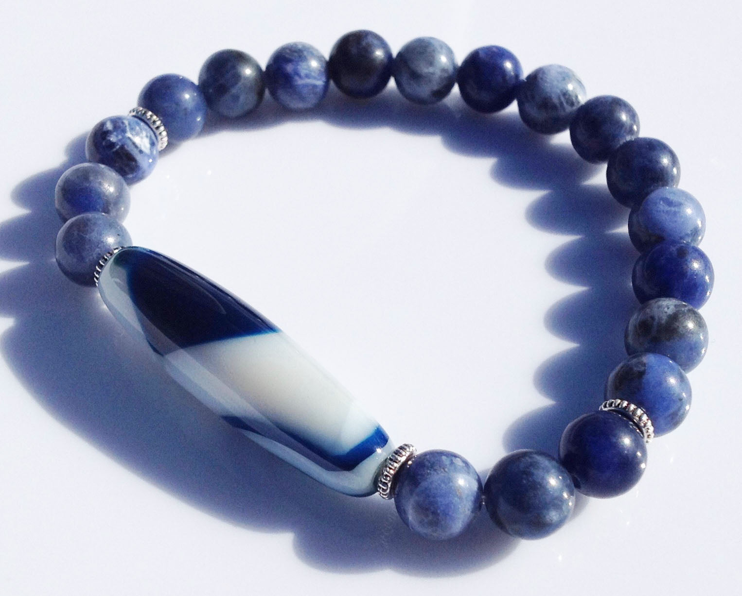 Ancient Blue and White Dzi Bead Collection Sodalite Stone Yoga Meditation Wrist Mala Bracelet Third Eye Chakra Focus Healing Energy Reiki