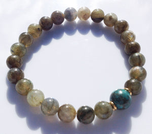 Fossil Focus Bead 8mm Labradorite Yoga Meditation Wrist Mala Stretch Bracelet Crown Chakra Mantra Focus Energy Reiki Prayer Healing