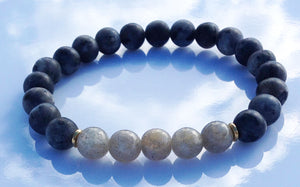 Positive Changes Collection Matte Labradorite and Gold Meditation Wrist Mala Stretch Bracelet Crown Chakra Focus Balance Yoga Energy Zen