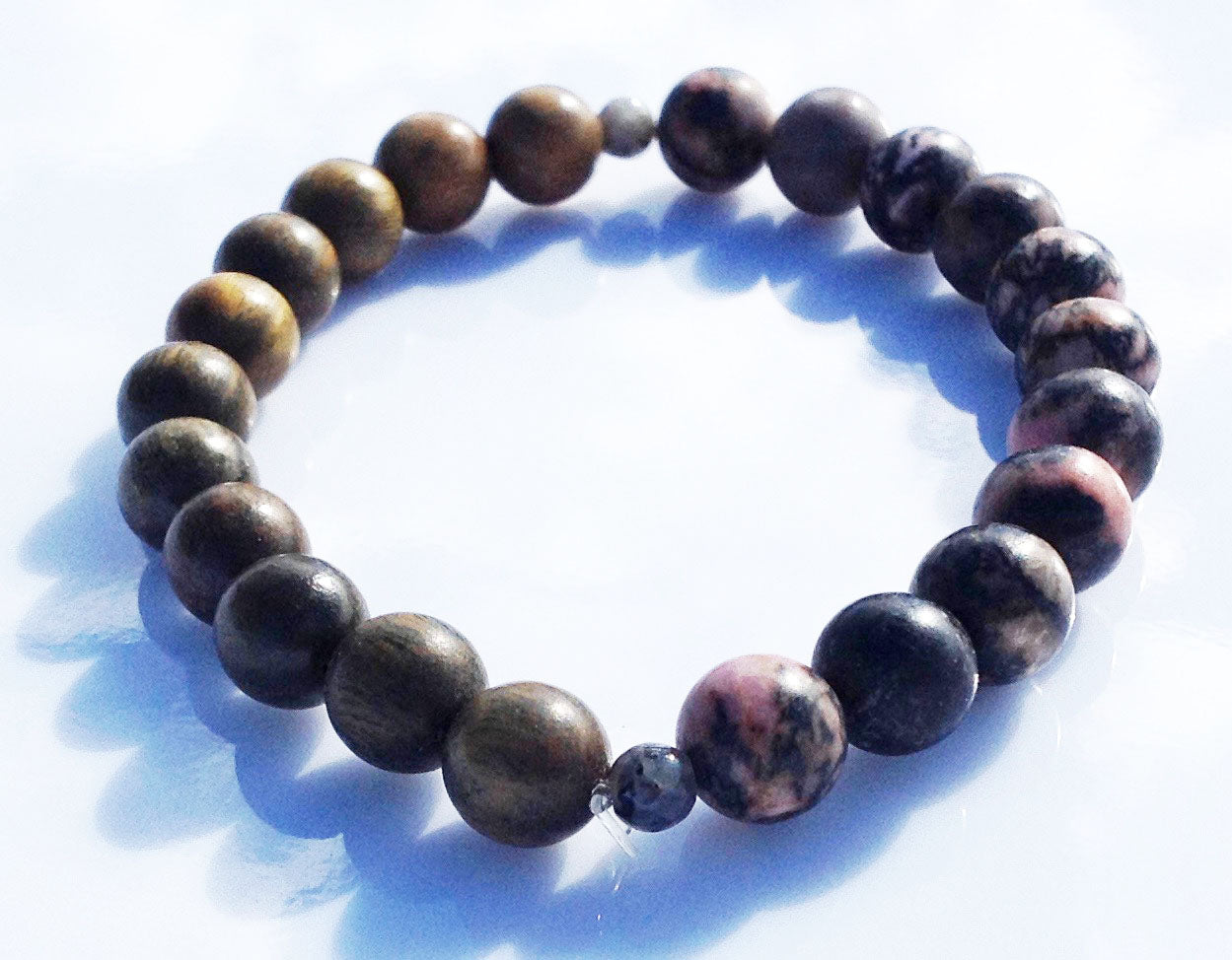 Balance Collection Green Sandalwood & Pink Rhodonite Yoga Meditation Wrist Mala Bracelet Heart Chakra Focus Healing Energy Reiki