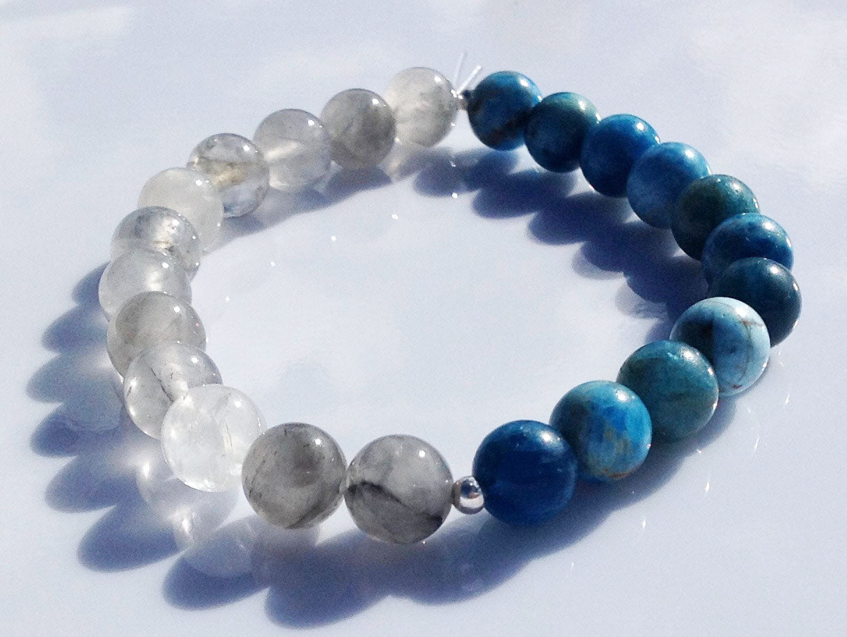Balance Collection Rutilated Quartz Crystal, 925 Silver & Apatite Yoga Meditation Wrist Mala Bracelet Third Eye Chakra Focus Healing Energy