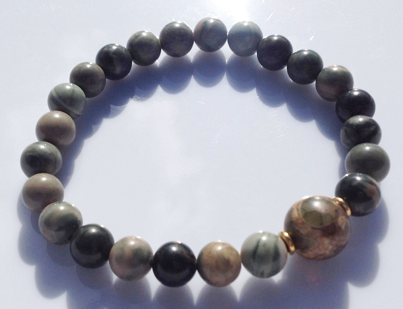 Ancient 3 Eye Dzi Bead Collection Jasper Stone & Gold Beads Yoga Meditation Wrist Mala Bracelet Root Base Chakra Healing Energy Reiki Focus