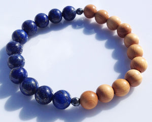 Balance Collection Yew Wood, Lapis Lazuli and Faceted Labradorite Stretch Yoga Meditation Wrist Mala Bracelet Crown Chakra Focus Energy