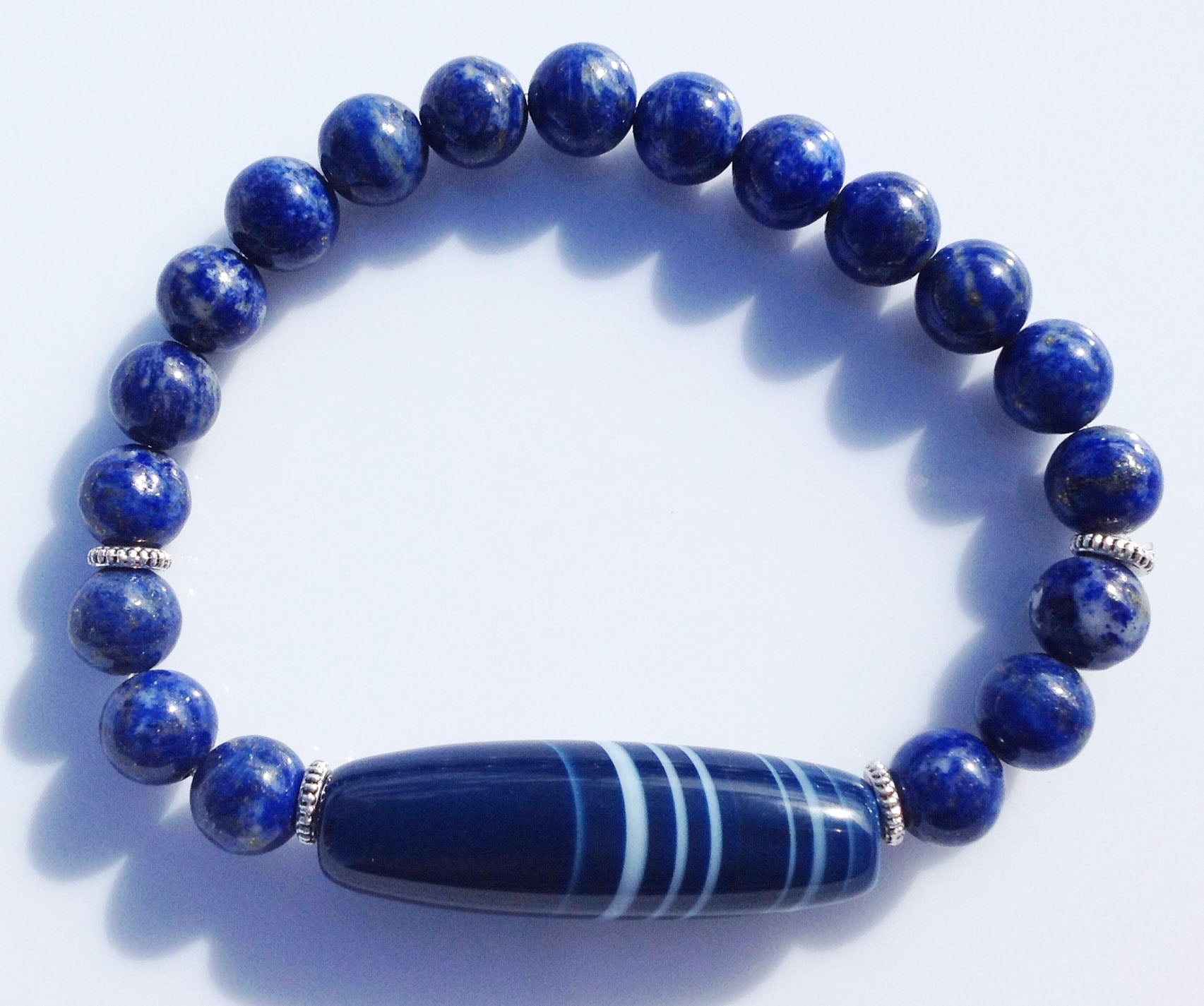 Ancient Dark Blue Dzi Bead Collection Lapis Lauzli Stone Yoga Meditation Wrist Mala Bracelet Third Eye Chakra Focus Healing Energy Reiki
