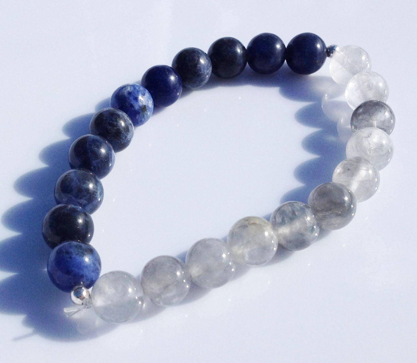 Balance Collection Rutilated Quartz Crystal & Sodalite Yoga Meditation Wrist Mala Bracelet Third Eye Chakra Focus Healing Energy Reiki