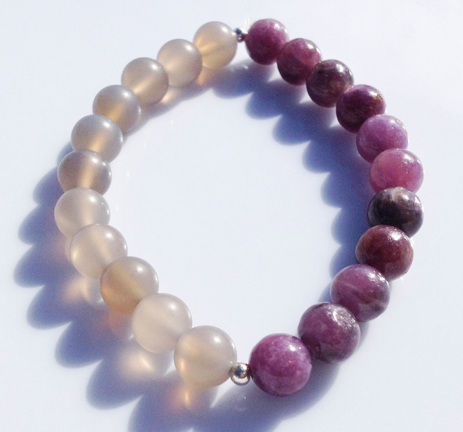 Balance Collection Lepidolite, 925 silver & Grey Agate Yoga Meditation Wrist Mala Bracelet Crown Chakra Focus Healing Energy Reiki