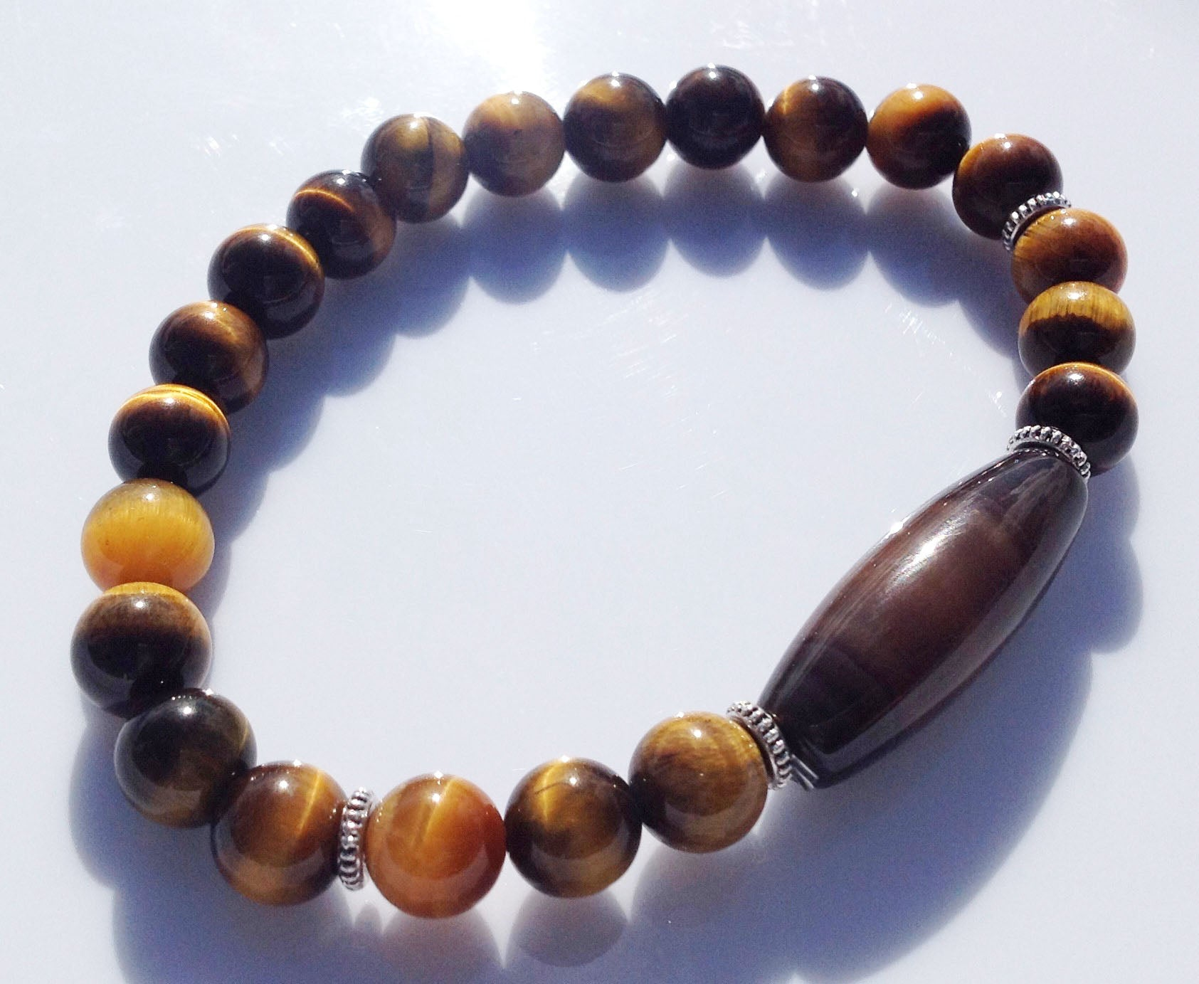 Ancient Dzi Bead Collection Yellow Tiger Eye Stone Yoga Meditation Wrist Mala Bracelet Solar Plexus Crown Chakra Focus Healing Energy Reiki