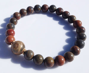 Ancient Dzi Bead Collection Brown Jasper Stone Yoga Meditation Wrist Mala Bracelet Root Base Crown Chakra Focus Healing Energy Reiki