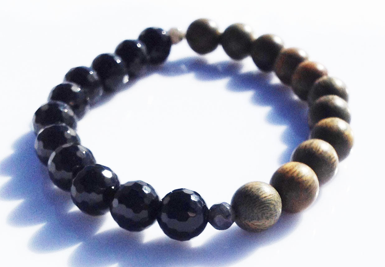 Balance Collection Faceted Black Onyx & Green Sandalwood Yoga Meditation Wrist Mala Bracelet Root Base Chakra Focus Healing Energy Reiki