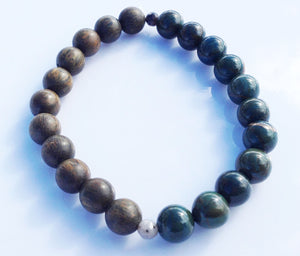 Balance Collection African Azurite & Green Sandalwood Yoga Meditation Wrist Mala Bracelet Third Eye Chakra Focus Healing Energy Reiki