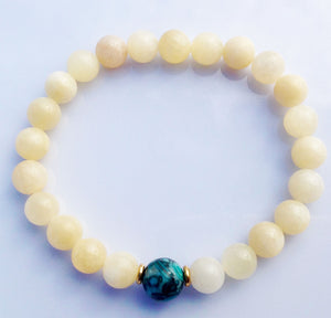 Fossil Focus Bead Natural Topaz Stone Meditation Yoga Wrist Mala Bracelet Solar Plexus Crown Throat Chakra Mantra Focus Energy Reiki Japa