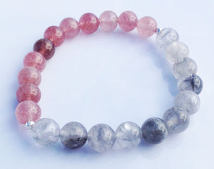 Balance Collection Rutilated Quartz Crystal & Strawberry Crystal Yoga Meditation Wrist Mala Bracelet Heart Crown Chakra Focus Healing Energy