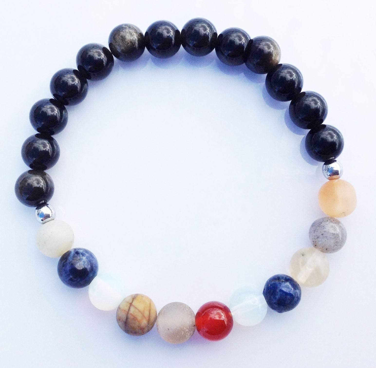 Galaxy Collection Planet Universe Obsidian and 925 Silver Yoga Meditation Wrist Mala Bracelet Root Base Chakra Focus Healing Energy Reiki