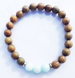 Three Stone Focus Bead Amazonite, Green Sandalwood Meditation Yoga Wrist Mala Stretch Bracelet Throat Chakra Mantra Focus Energy Reiki