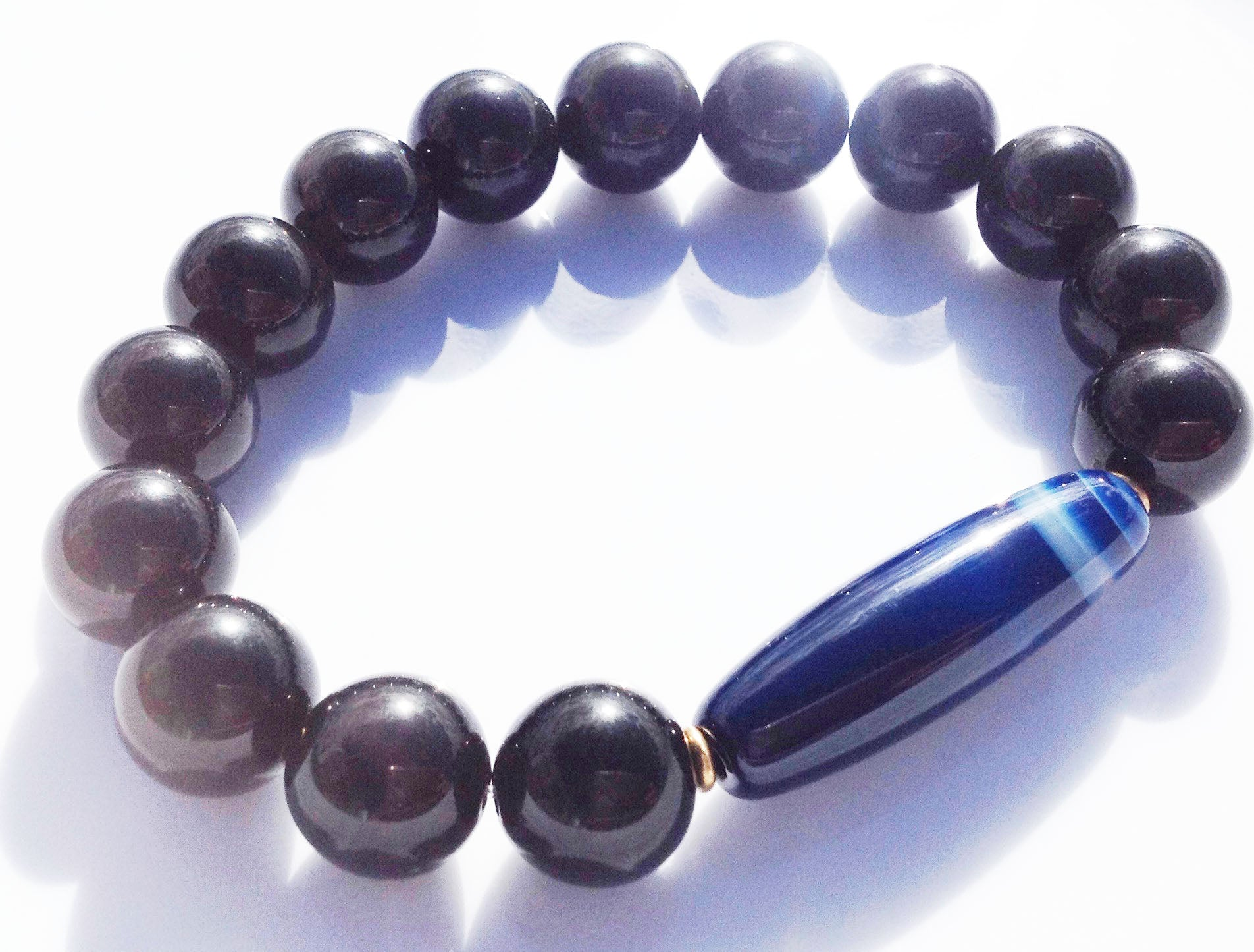 Ancient Dzi Bead Collection Black Obsidian Yoga Meditation Wrist Mala Bracelet Root Base Chakra Healing Energy Reiki Grounding Mindful
