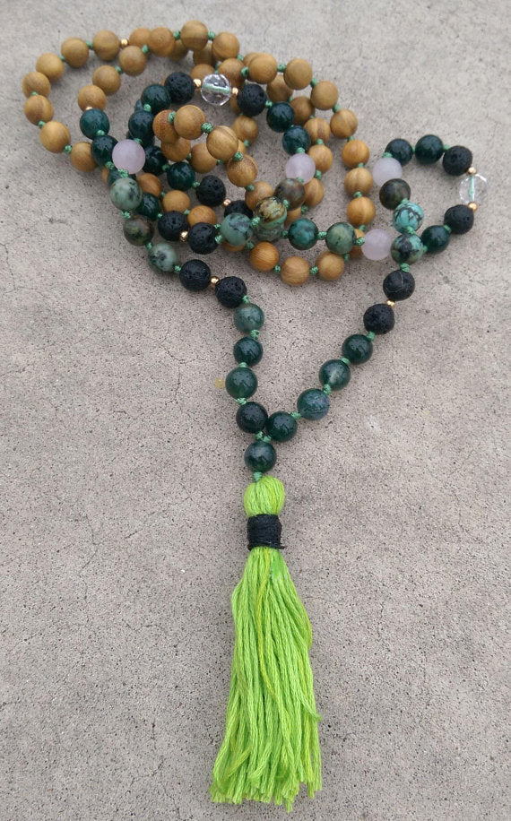 Intention Line Harmony 8mm Tree Jade Lava Turquoise Rose Quartz Sandalwood Traditional Knotted 108 Meditation Mala Necklace Chakra Yoga