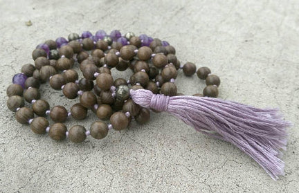 Eco Collection 8mm Sandalwood Amethyst Pyrite Traditional Cotton Knotted 108 Meditation Mala Necklace Chakra Yoga Modern Organic Jewelry