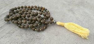 Eco Collection 8mm Sandalwood Tiger Eye Pyrite Traditional Cotton Knotted 108 Meditation Mala Necklace Chakra Yoga Modern Organic Jewelry