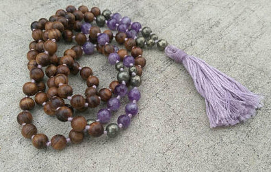 Eco Collection 8mm Pear Wood Amethyst Pyrite Traditional Cotton Knotted 108 Meditation Mala Necklace Chakra Yoga Modern Organic Jewelry