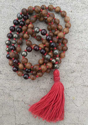 Eco Collection 8mm Pear Wood Garnet Pyrite Traditional Cotton Knotted 108 Meditation Mala Necklace First Chakra Yoga Modern Organic Jewelry