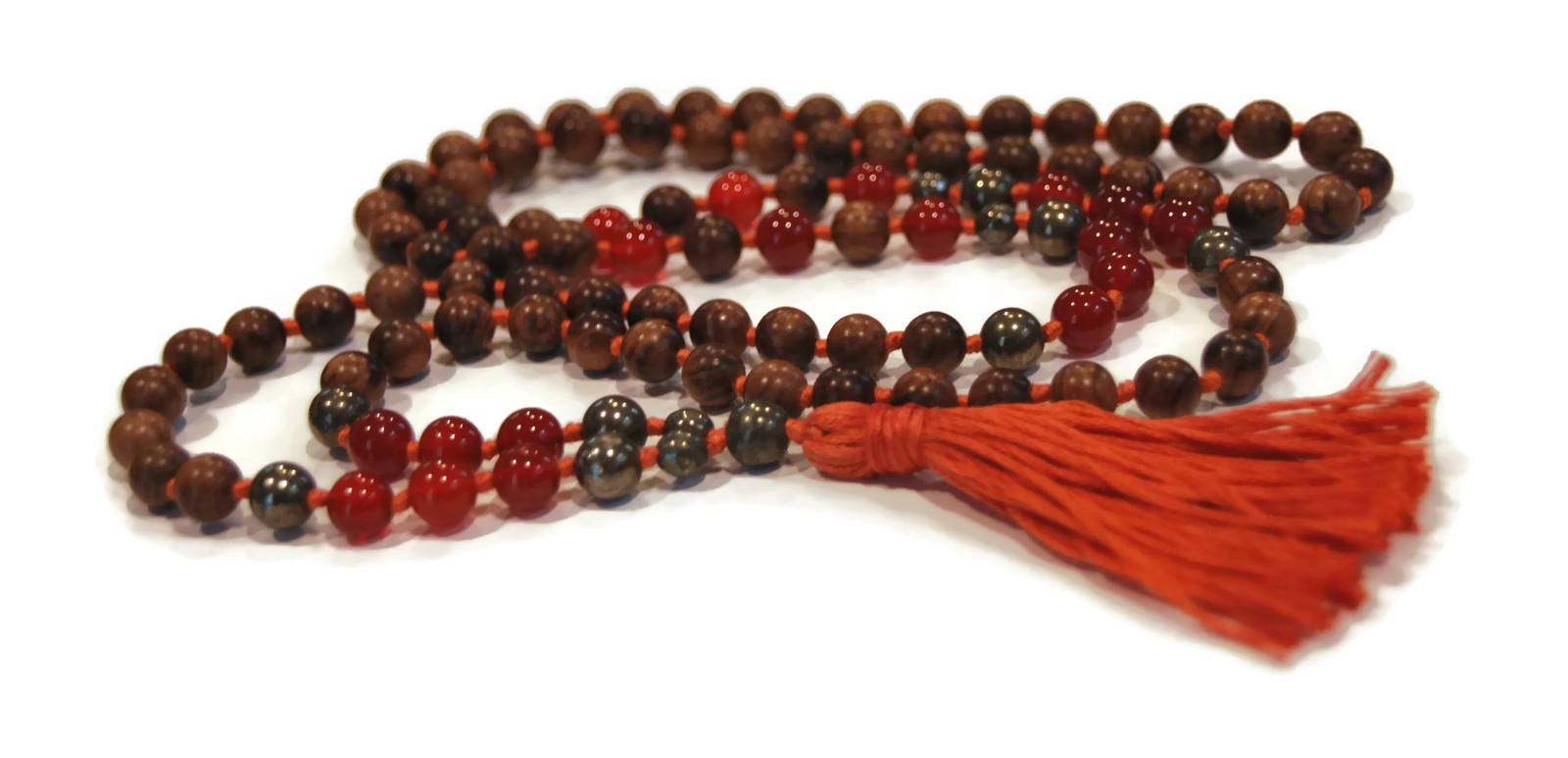 Eco Collection 8mm Pear Wood Carnelian Pyrite Traditional Cotton Knotted 108 Meditation Mala Necklace Chakra Yoga Modern Organic Jewelry