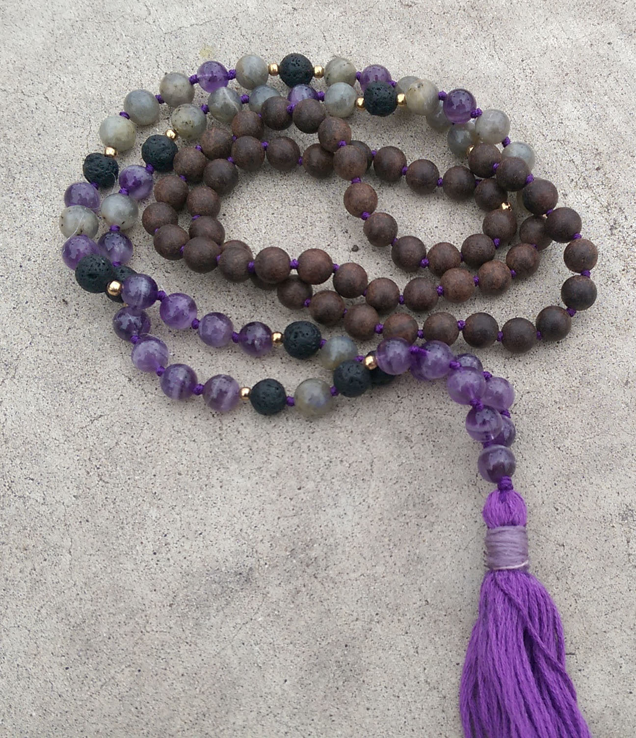 Intention Line Wisdom 8mm Amethyst Lava Labradorite Brown Agar Wood Traditional Knotted 108 Meditation Mala Necklace Crown Chakra Yoga