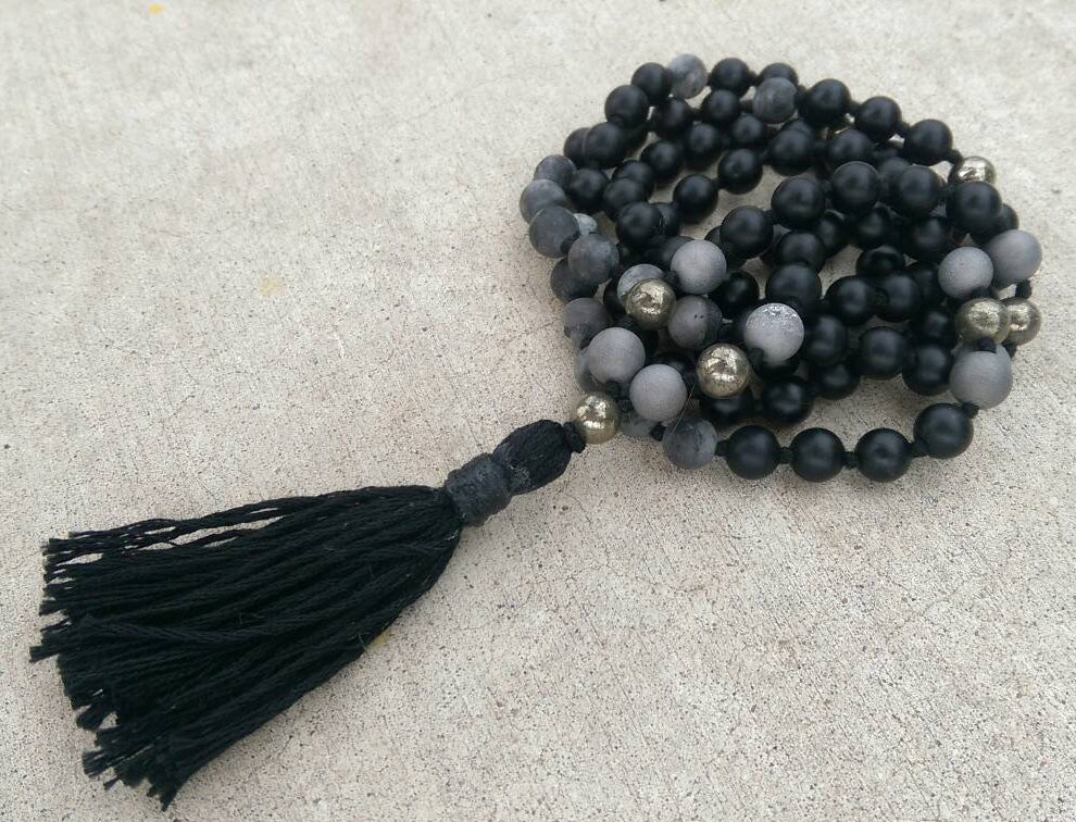 Eco Collection 8mm Matte Black Stone Labradorite Pyrite Agate Traditional Cotton Knotted 108 Meditation Mala Necklace Chakra Yoga Jewelry