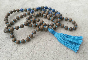 Eco Collection 8mm Sandalwood Lapis Lazuli Pyrite Traditional Cotton Knotted 108 Meditation Mala Necklace Chakra Yoga Modern Organic Jewelry