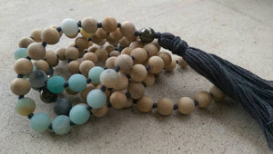 Eco Collection 8mm Sandalwood Matte Amazonite Pyrite Druzy Agate Traditional Cotton Knotted 108 Meditation Mala Necklace Chakra Yoga Jewelry