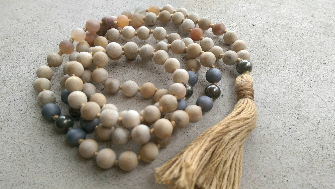 Eco Collection 8mm Sandalwood Matte Sunstone Pyrite Agate Traditional Cotton Knotted 108 Meditation Mala Necklace Chakra Yoga Jewelry